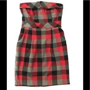 Plaid Strapless Dress